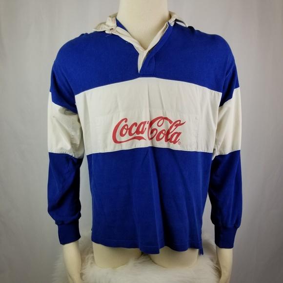 140d201b Coca Cola Shirts | Mens Vintage 80s Cocacola Blue Rugby Shirt | Poshmark